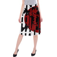 Red, black and white decorative abstraction Midi Beach Skirt
