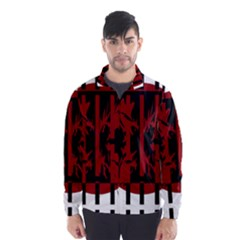 Red, black and white decorative abstraction Wind Breaker (Men)