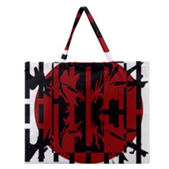 Red, black and white decorative abstraction Zipper Large Tote Bag