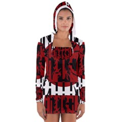 Red, black and white decorative abstraction Women s Long Sleeve Hooded T-shirt