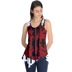 Red, Black And White Decorative Abstraction Sleeveless Tunic