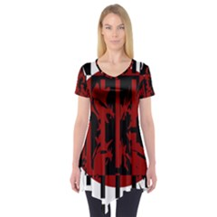 Red, black and white decorative abstraction Short Sleeve Tunic