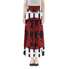 Red, Black And White Decorative Abstraction Maxi Skirts