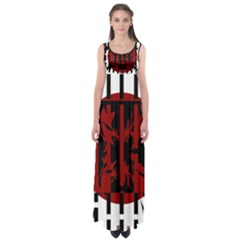 Red, black and white decorative abstraction Empire Waist Maxi Dress