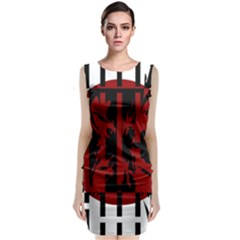 Red, black and white decorative abstraction Classic Sleeveless Midi Dress