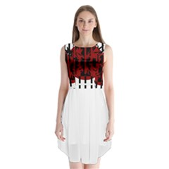 Red, black and white decorative abstraction Sleeveless Chiffon Dress