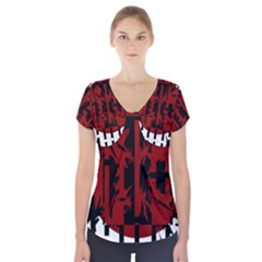 Red, black and white decorative abstraction Short Sleeve Front Detail Top