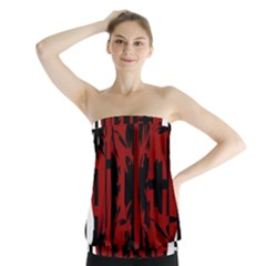 Red, black and white decorative abstraction Strapless Top