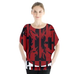 Red, black and white decorative abstraction Batwing Chiffon Blouse