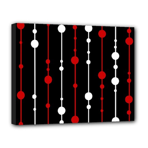 Red Black And White Pattern Canvas 14  X 11