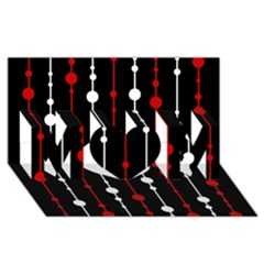 Red black and white pattern MOM 3D Greeting Card (8x4)