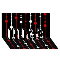 Red black and white pattern HUGS 3D Greeting Card (8x4)