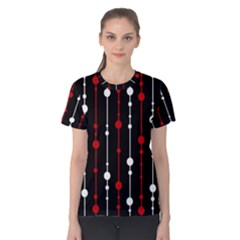 Red black and white pattern Women s Cotton Tee
