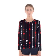 Red black and white pattern Women s Long Sleeve Tee