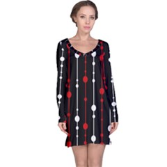 Red black and white pattern Long Sleeve Nightdress