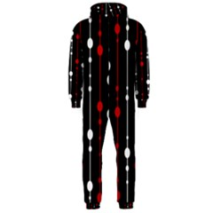 Red black and white pattern Hooded Jumpsuit (Men)