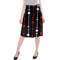 Red black and white pattern Midi Beach Skirt