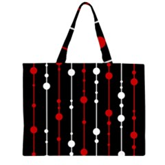 Red Black And White Pattern Zipper Large Tote Bag