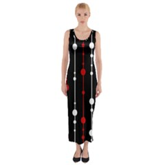 Red black and white pattern Fitted Maxi Dress