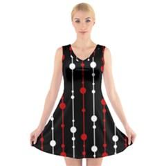 Red black and white pattern V-Neck Sleeveless Skater Dress