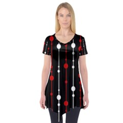Red black and white pattern Short Sleeve Tunic