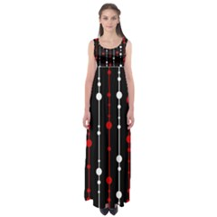 Red black and white pattern Empire Waist Maxi Dress