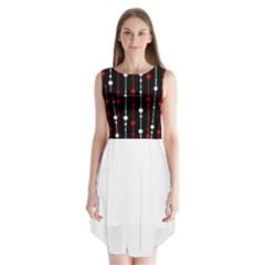 Red black and white pattern Sleeveless Chiffon Dress
