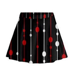 Red black and white pattern Mini Flare Skirt