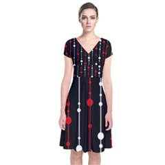 Red black and white pattern Short Sleeve Front Wrap Dress