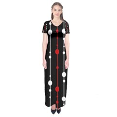 Red black and white pattern Short Sleeve Maxi Dress