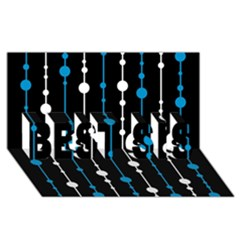 Blue, white and black pattern BEST SIS 3D Greeting Card (8x4)
