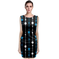 Blue, white and black pattern Classic Sleeveless Midi Dress