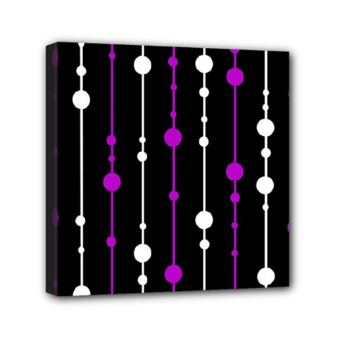 Purple, black and white pattern Mini Canvas 6  x 6