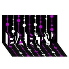 Purple, black and white pattern PARTY 3D Greeting Card (8x4)