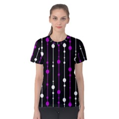 Purple, black and white pattern Women s Cotton Tee