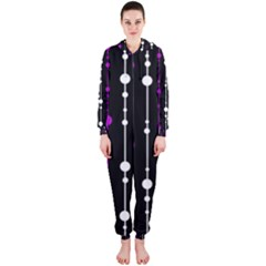 Purple, black and white pattern Hooded Jumpsuit (Ladies)