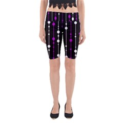 Purple, black and white pattern Yoga Cropped Leggings