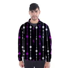Purple, black and white pattern Wind Breaker (Men)
