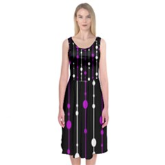 Purple, black and white pattern Midi Sleeveless Dress