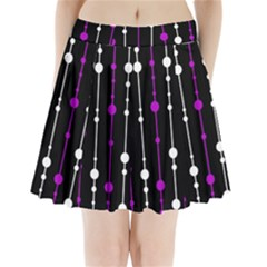 Purple, black and white pattern Pleated Mini Mesh Skirt