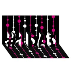 Magenta white and black pattern #1 DAD 3D Greeting Card (8x4)