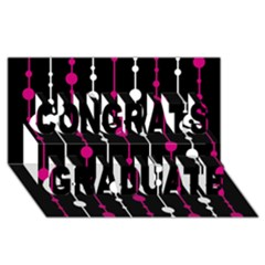 Magenta white and black pattern Congrats Graduate 3D Greeting Card (8x4)