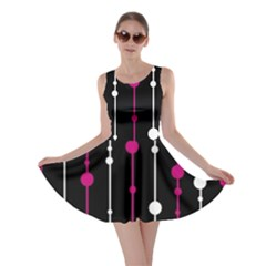 Magenta white and black pattern Skater Dress