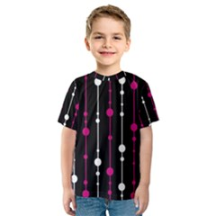 Magenta white and black pattern Kid s Sport Mesh Tee