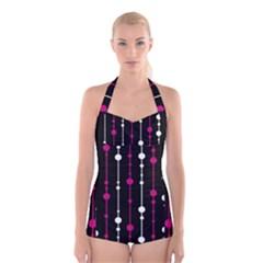 Magenta white and black pattern Boyleg Halter Swimsuit