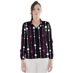 Magenta white and black pattern Wind Breaker (Women)
