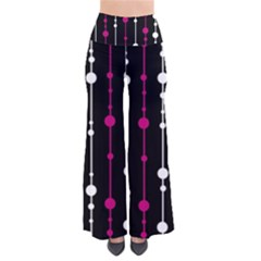Magenta white and black pattern Pants