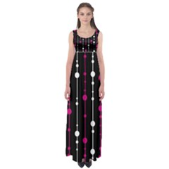 Magenta white and black pattern Empire Waist Maxi Dress