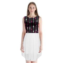 Magenta white and black pattern Sleeveless Chiffon Dress