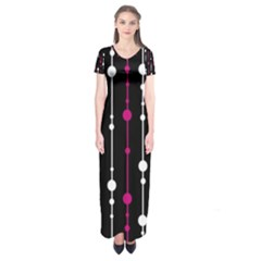 Magenta white and black pattern Short Sleeve Maxi Dress